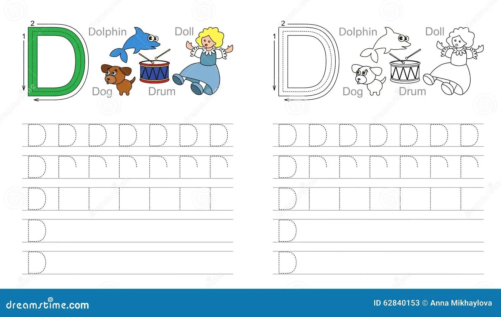 Hoja De Trabajo De Trazado Para La Letra D Ilustracion Del