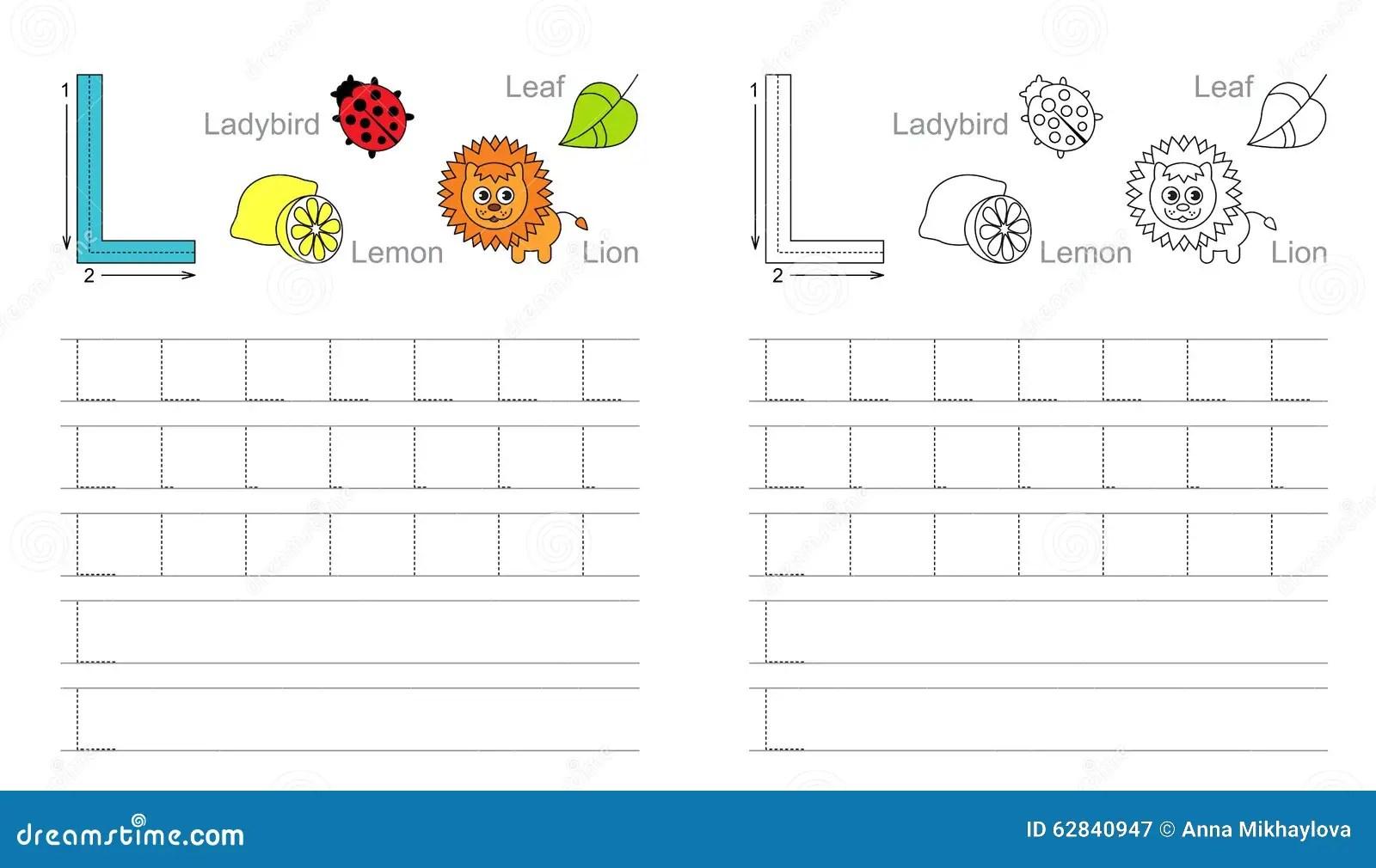 Hoja De Trabajo De Trazado Para La Letra L Ilustracion Del Vector