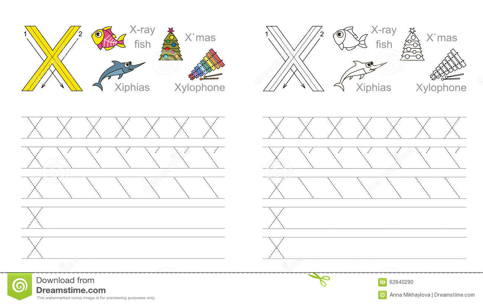 Hoja De Trabajo De Trazado Para La Letra X Ilustracion Del