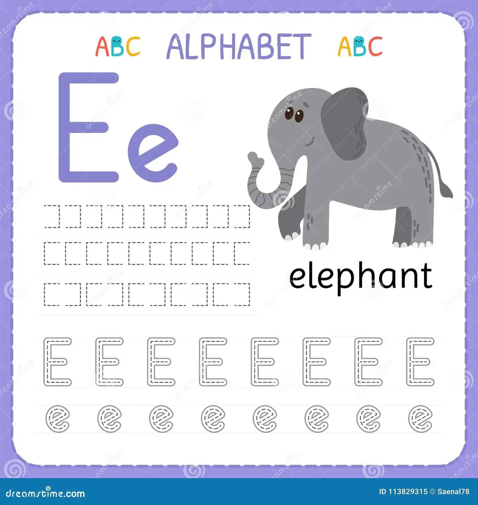Hoja De Trabajo De Trazado Del Alfabeto Para El Preescolar Y La Guarderia Letra E De La Practica