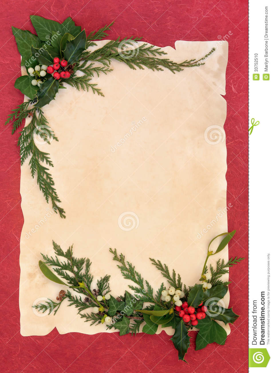 Holly And Mistletoe Border Stock Photo Image Of Paper