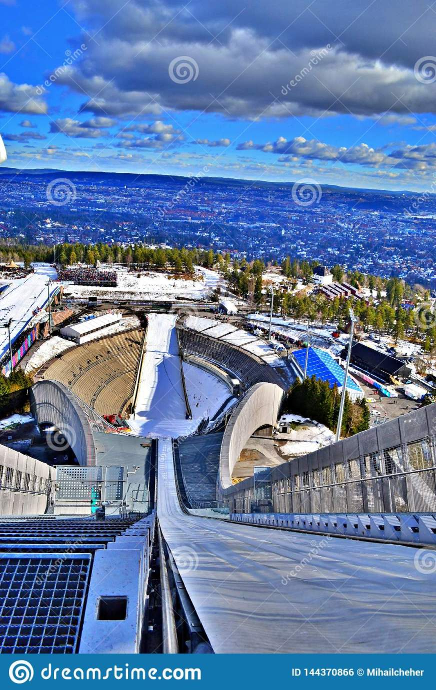 Ski Jumping Arena In Oslo Norway - Spring 2017 Stock Photo ...