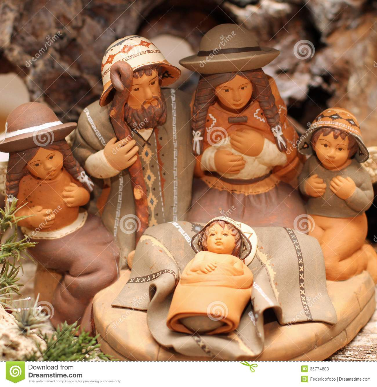 Holy Family In Bolivia With Two Angels In Terracotta