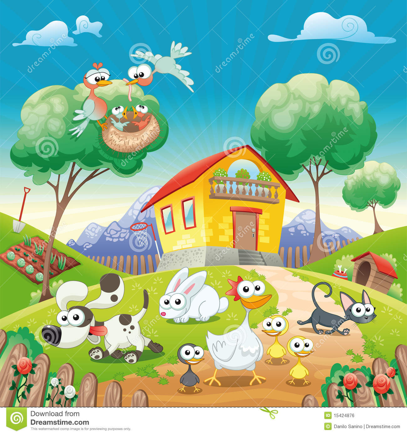 Home With Animals Stock Vector Illustration Of Animal