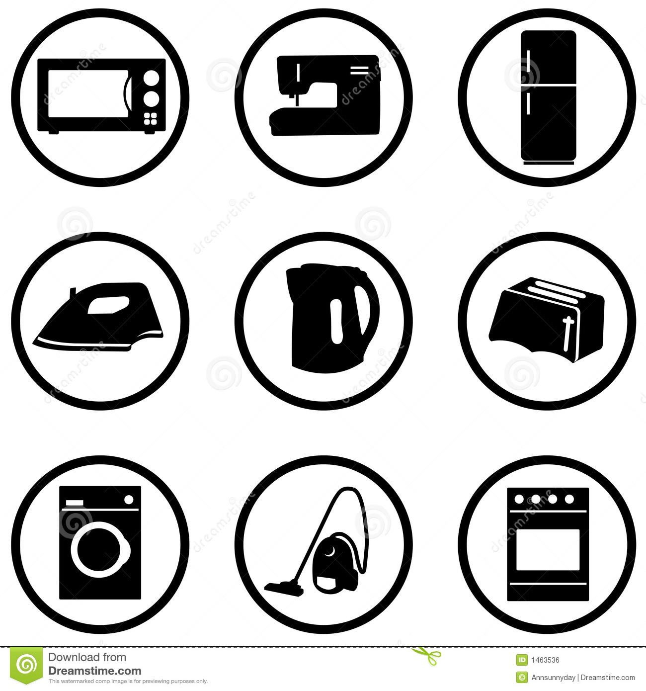Home Appliance Icons Set Stock Illustration Image Of