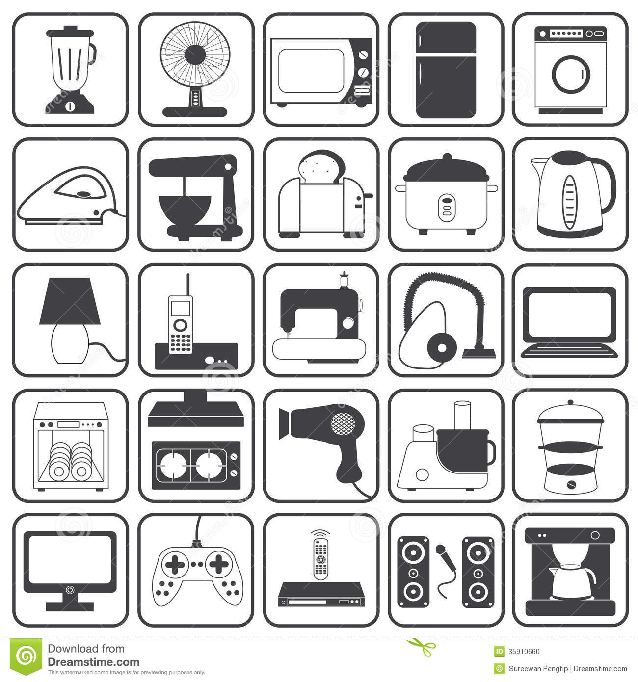Home Appliance Icons Vector Set Stock Photo