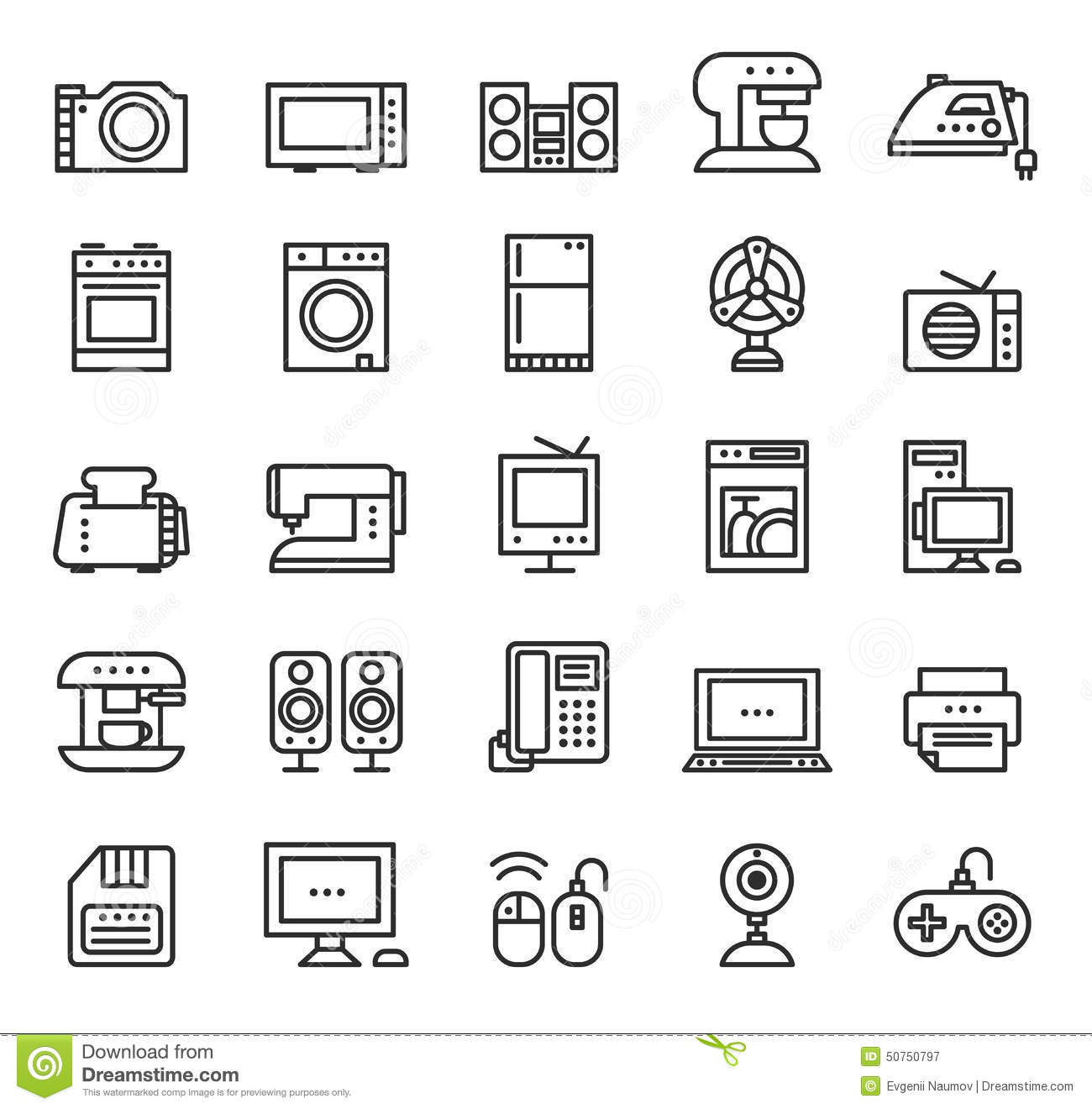 Home Appliances And Equipment Icons Vector Modern Stock