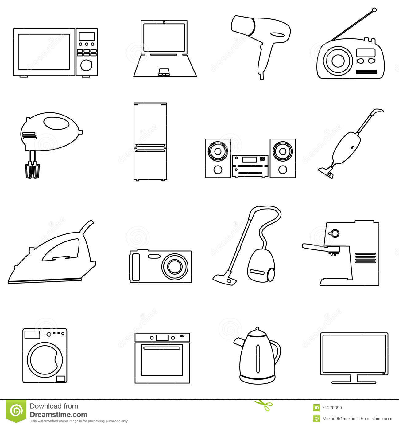 Home Electrical Appliances Outline Icons Set Stock Vector