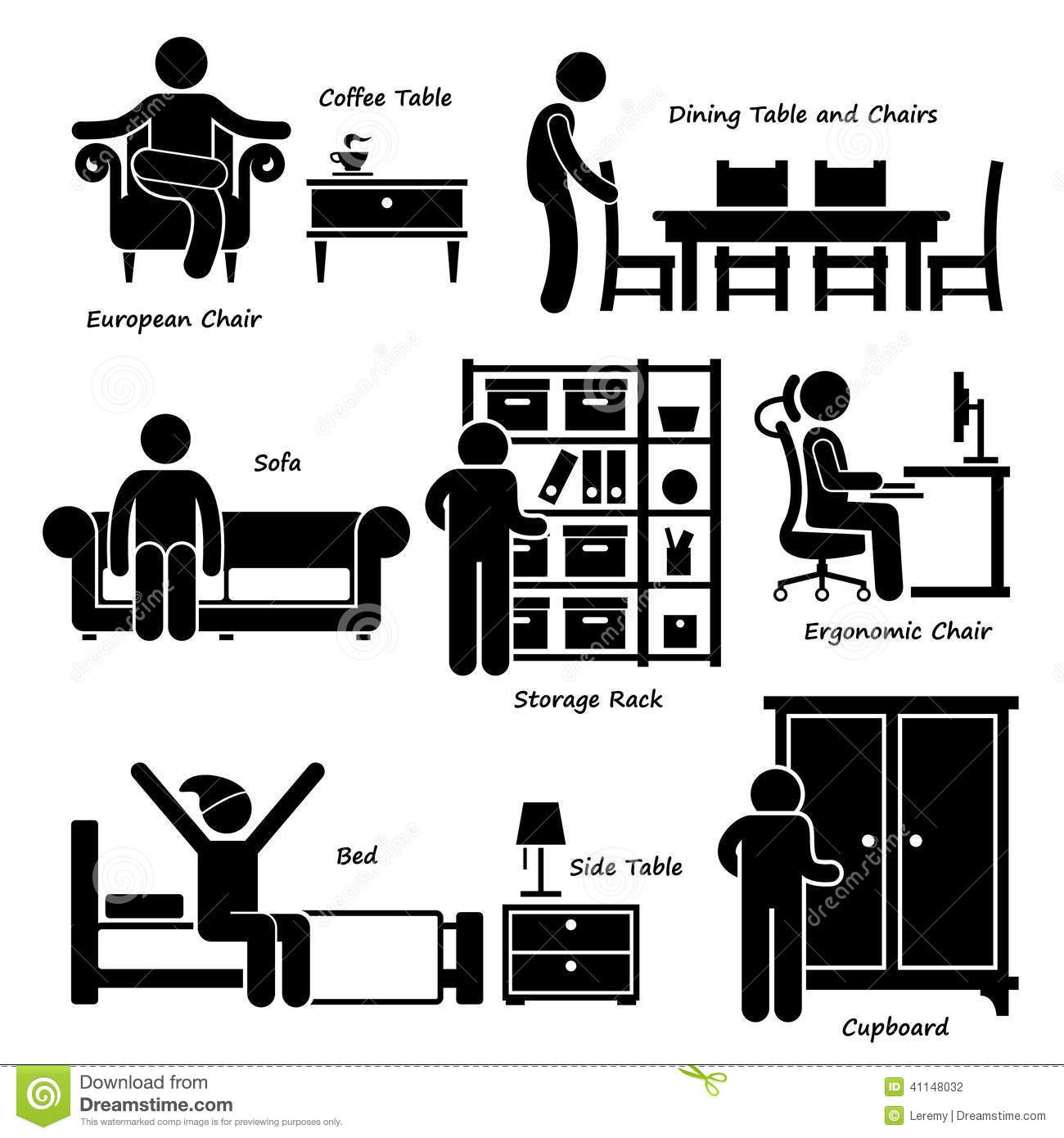 Home House Furniture Cliparts Stock Vector