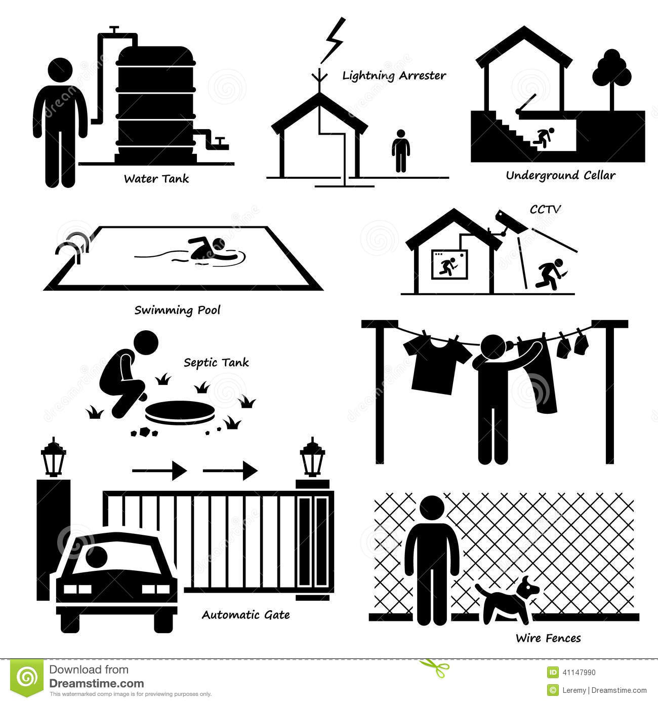 Home House Outdoor Structure Infrastructure And Fixtures Cliparts Stock Vector