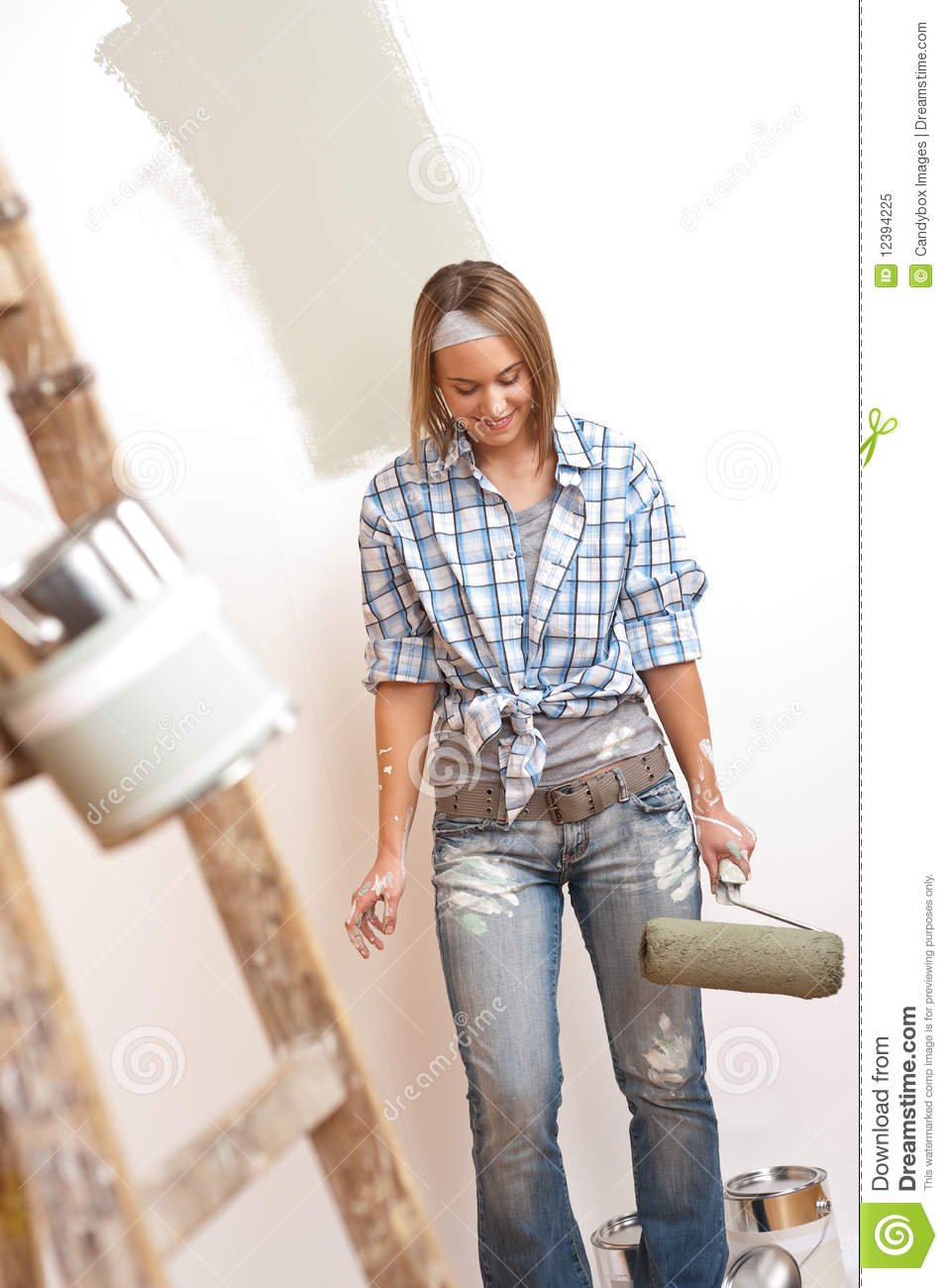 Home Improvement Young Woman With Paint Roller Stock