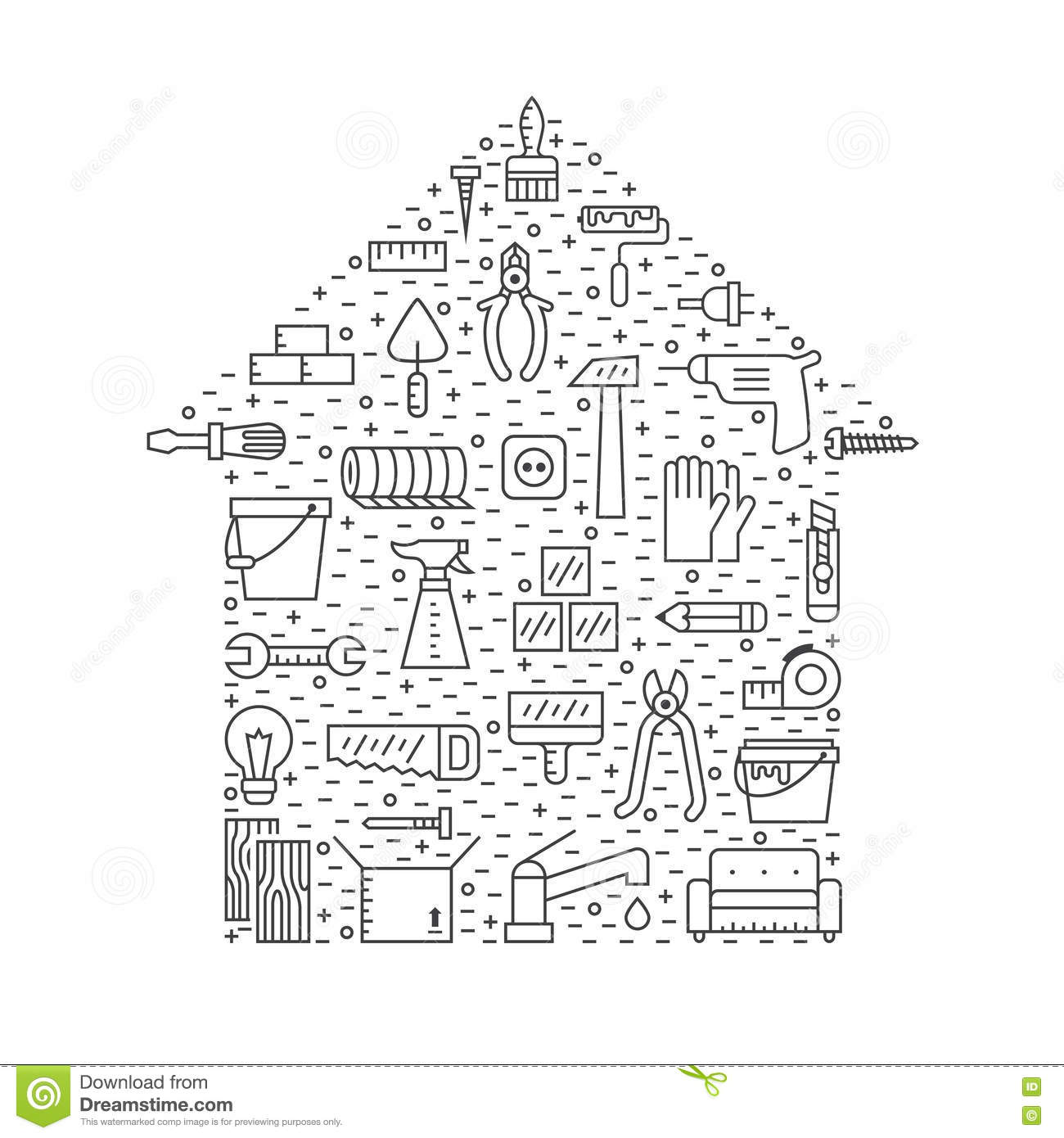 Home Repair And Construction Outline Gray Vector