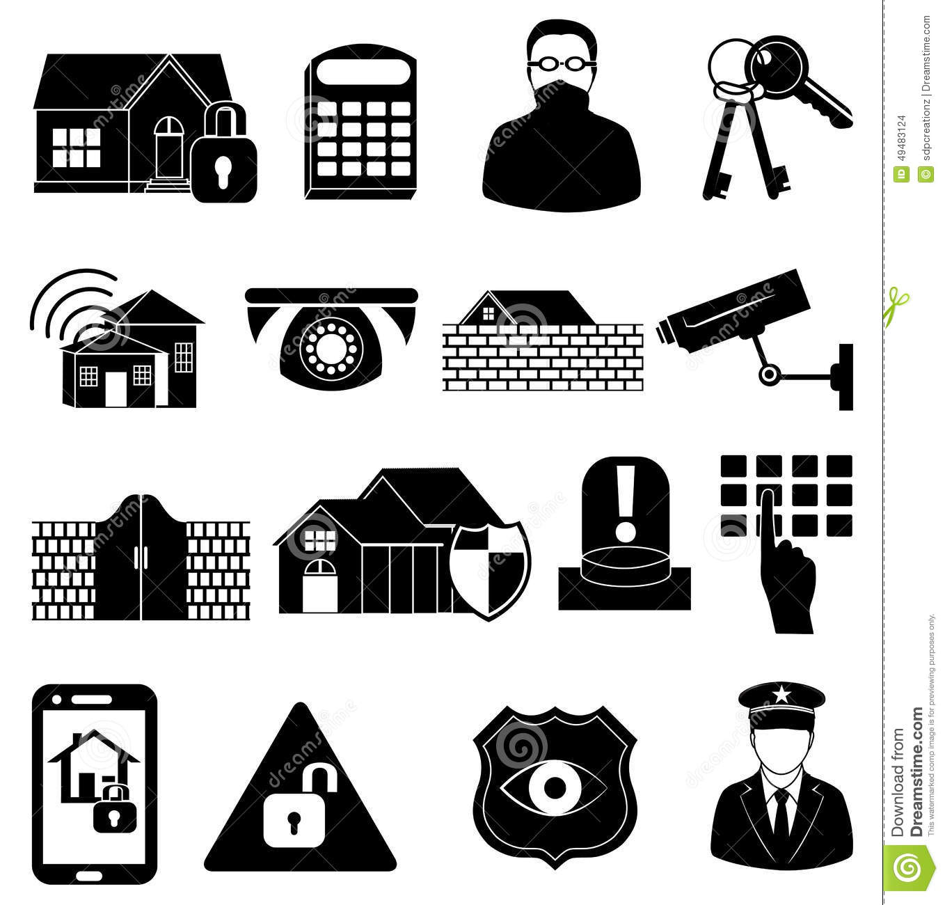 Home Security Icons Set Stock Vector Illustration Of