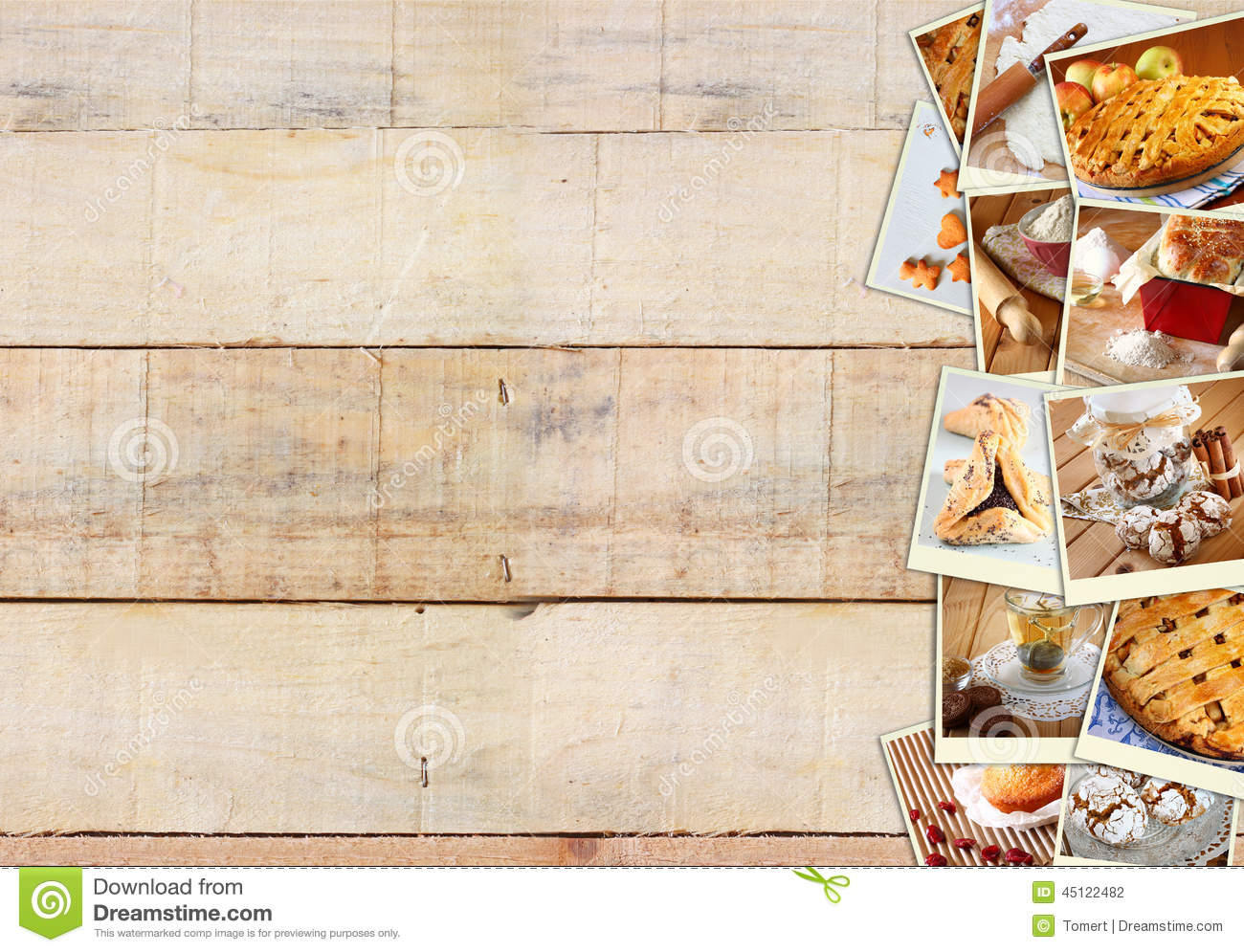 Homemade Baking Collage With Cookies Fresh Bread Apple