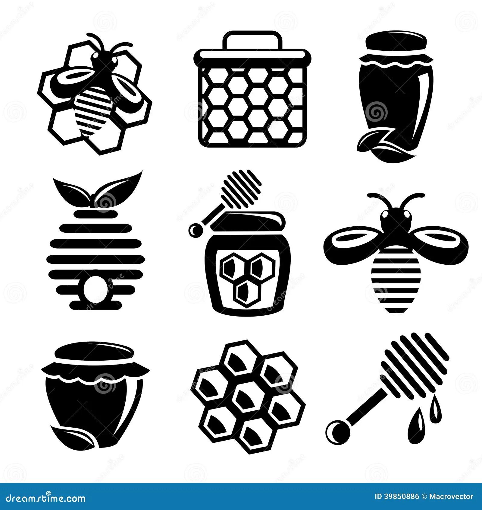 Honey Icons Set Stock Vector