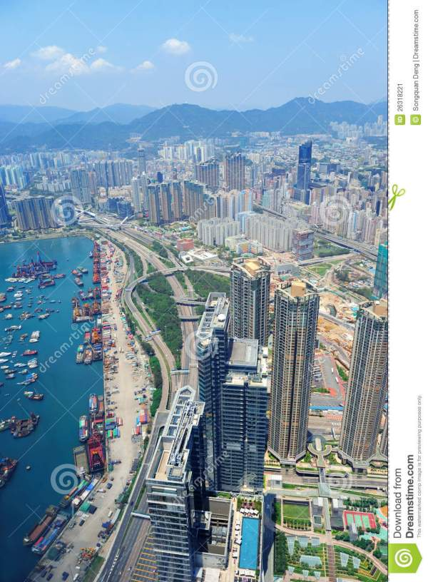 Hong Kong aerial view stock image. Image of scene, boat ...