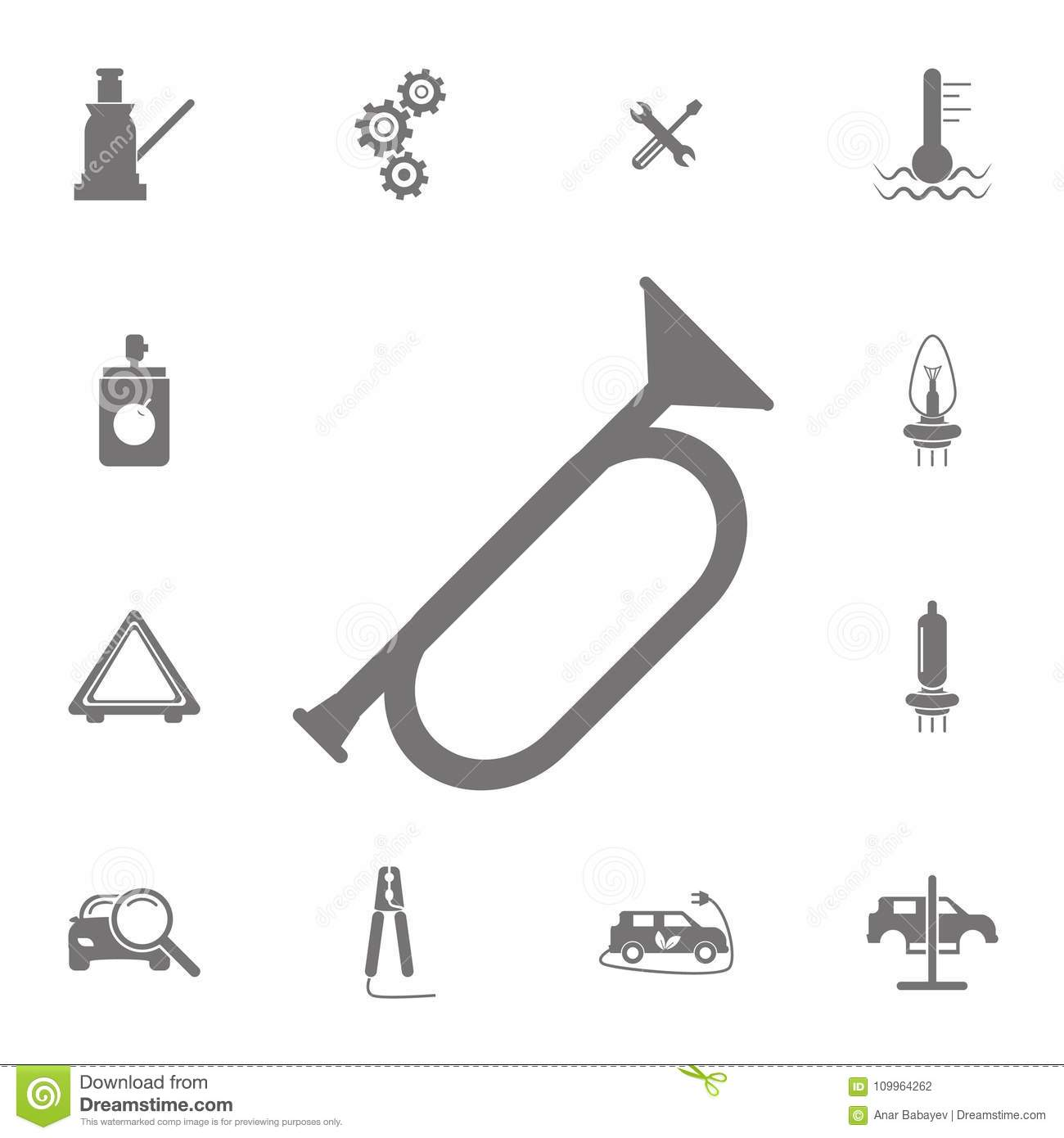 Horn Con Set Of Car Repair Icons Signs Of Collection