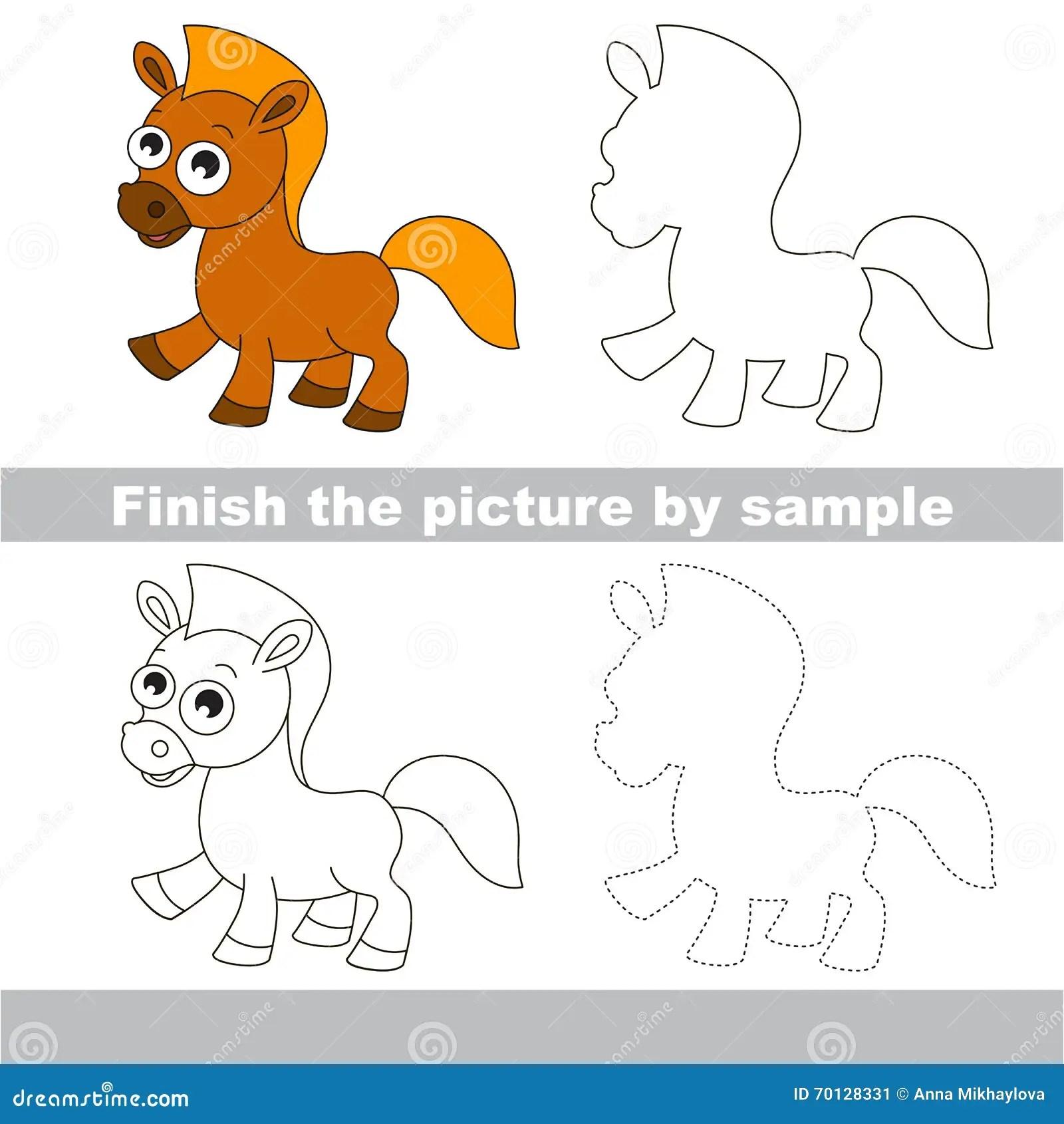 Horse Drawing Worksheet Stock Vector Illustration Of