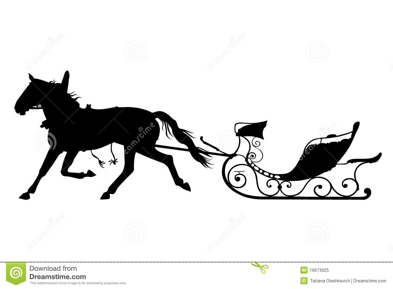 Horse With Drawn Sled Royalty Free Stock Photo