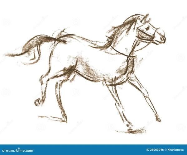 Stylized Hand Drawn Arabian Horse Stock Photo