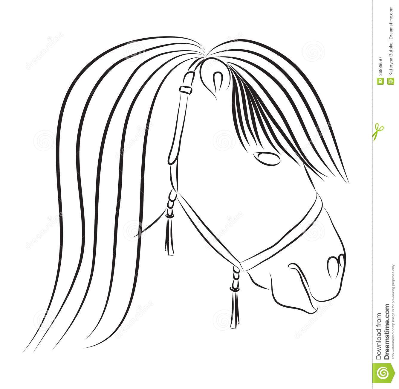 Horse Head In Sketch Style Stock Vector
