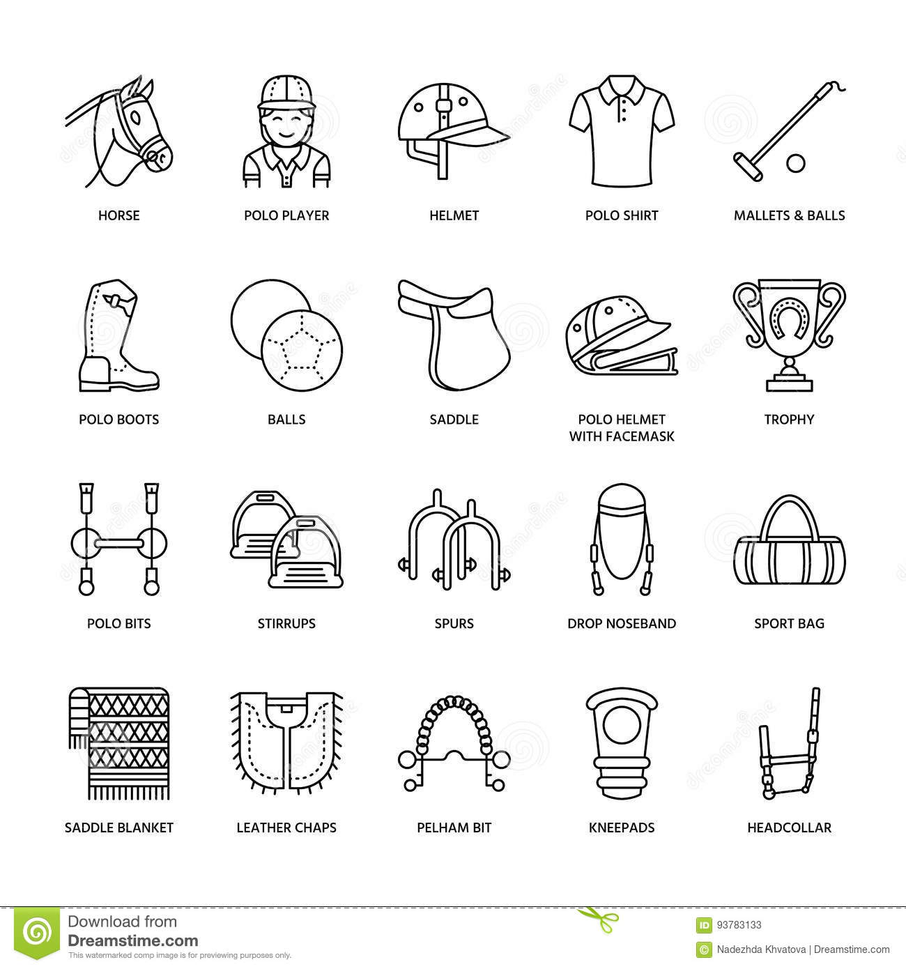 Horse Polo Flat Line Icons Vector Illustration Of Horses
