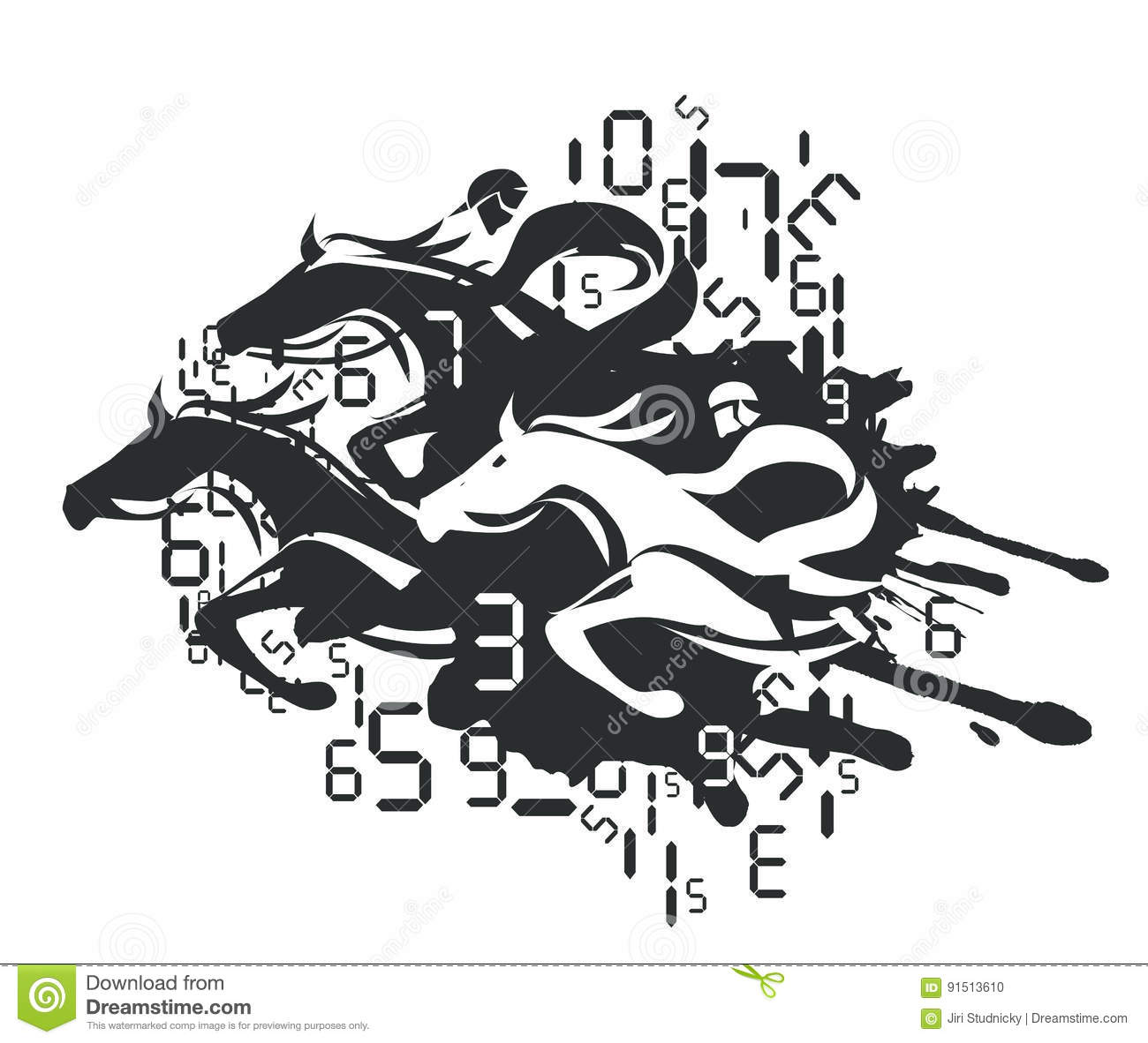 Horse Racing And Betting Vector Illustration