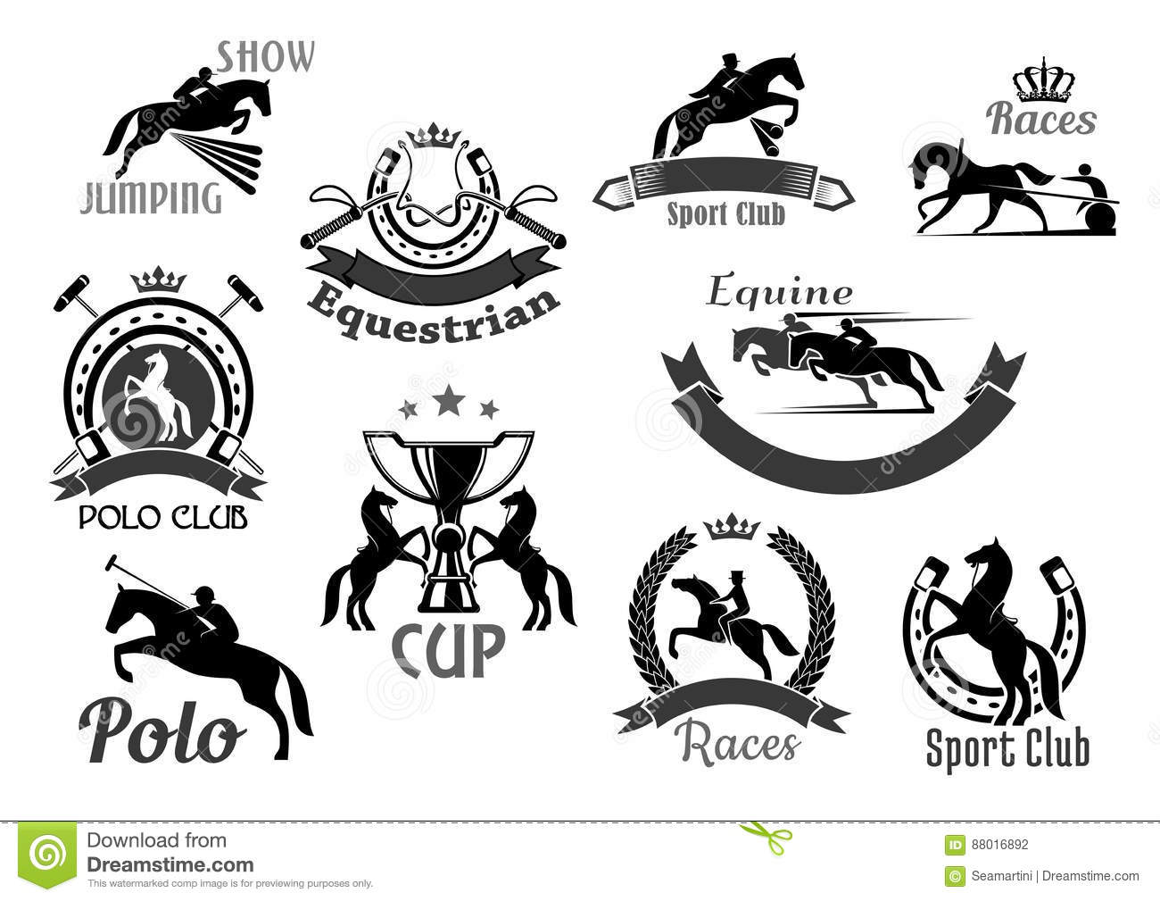 Horse Racing Club Emblems Or Vector Icons Set Stock Vector