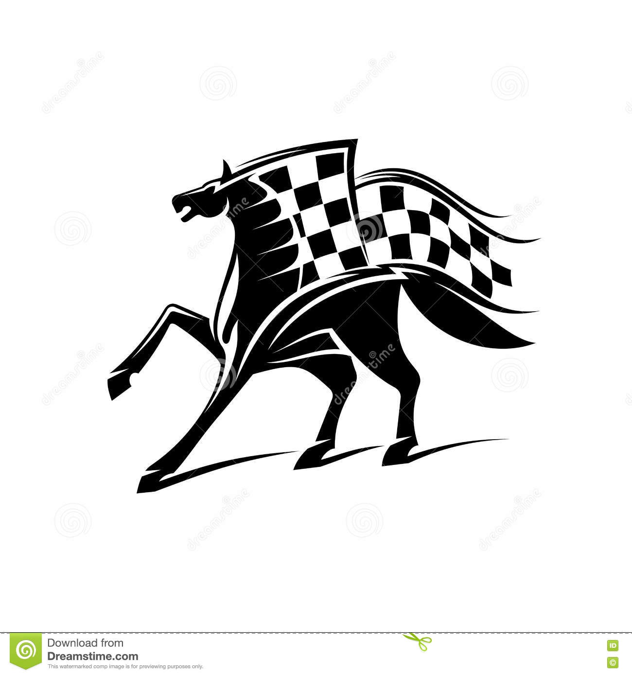 Horse Racing Emblem With Checkered Flag Stock Vector