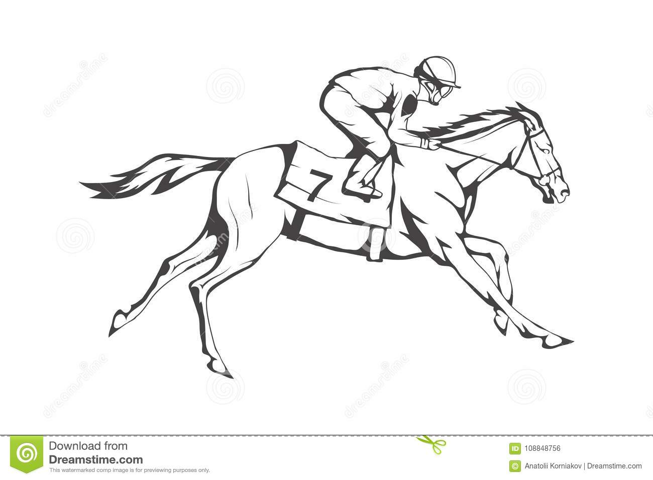 Horse Racing Jockey On Racing Horse Running To The Finish