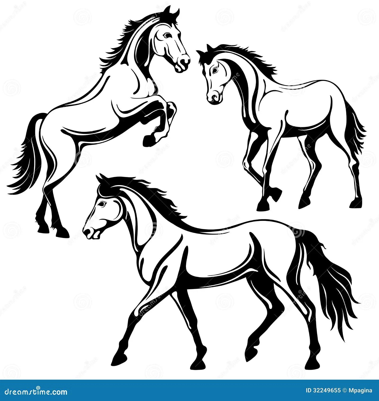 Horse Stock Vector Illustration Of Outline Mammal