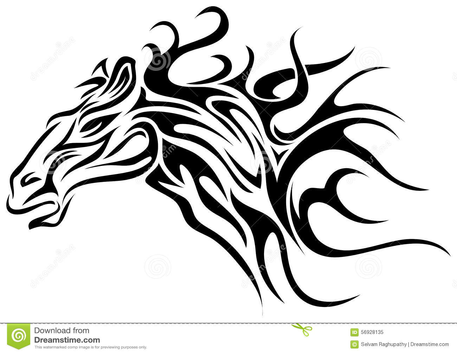 Horse Tattoo Stock Vector