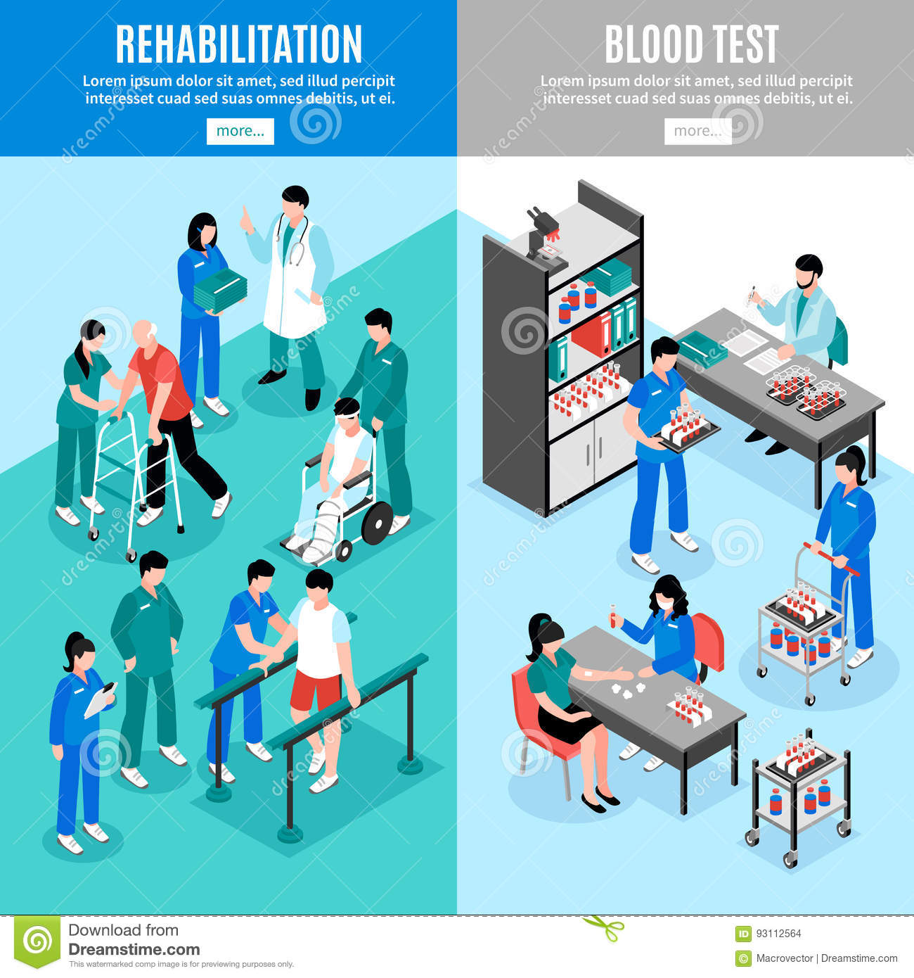 Hospital Vertical Isomeric Banners Set Stock Vector