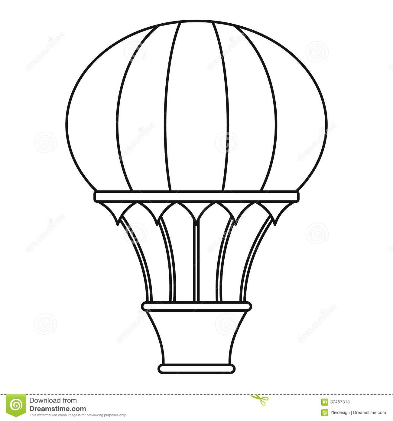 Hot Air Balloon With Basket Icon Outline Style Stock
