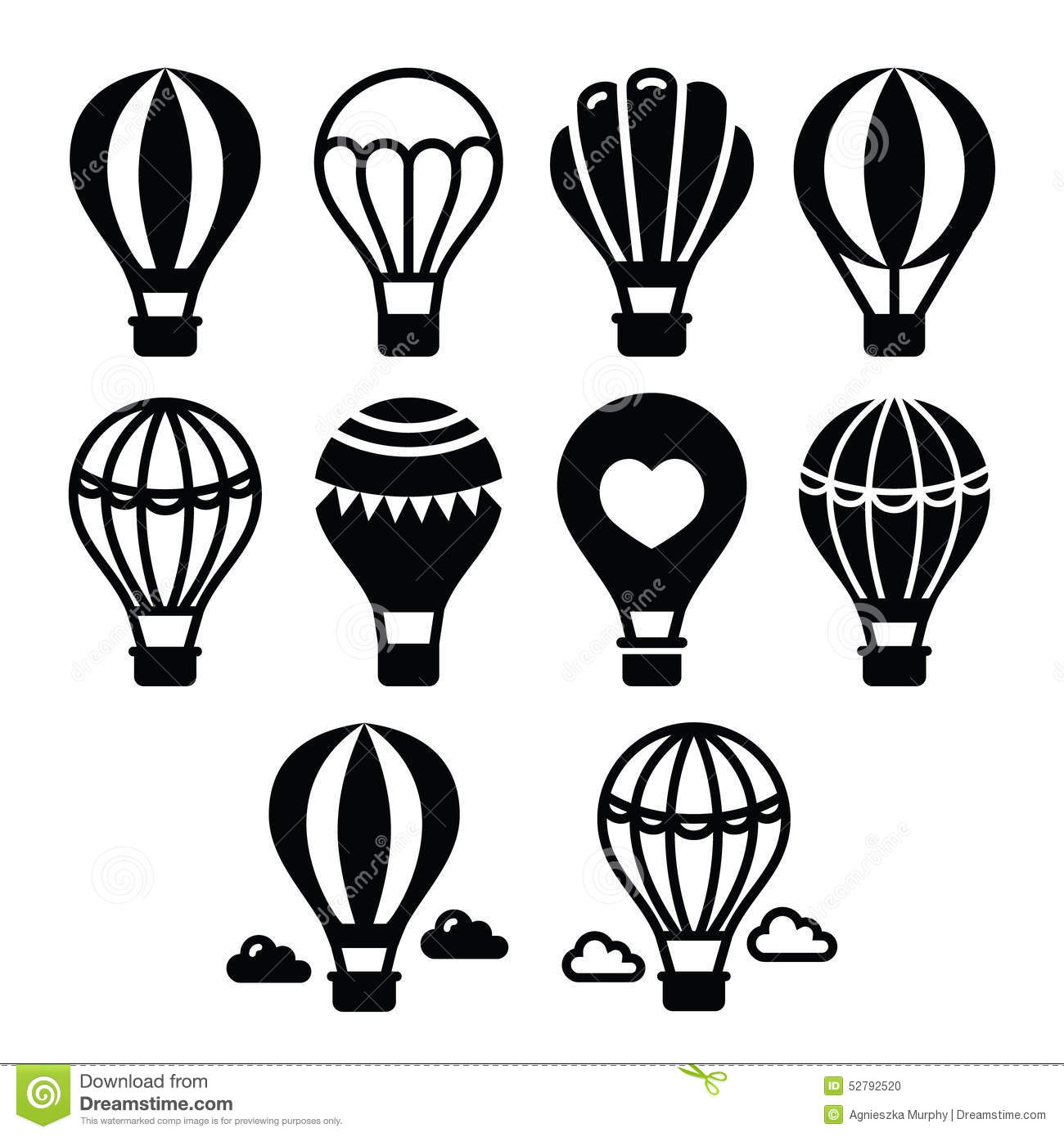 Hot Air Balloon And Clouds Icons Set Stock Illustration