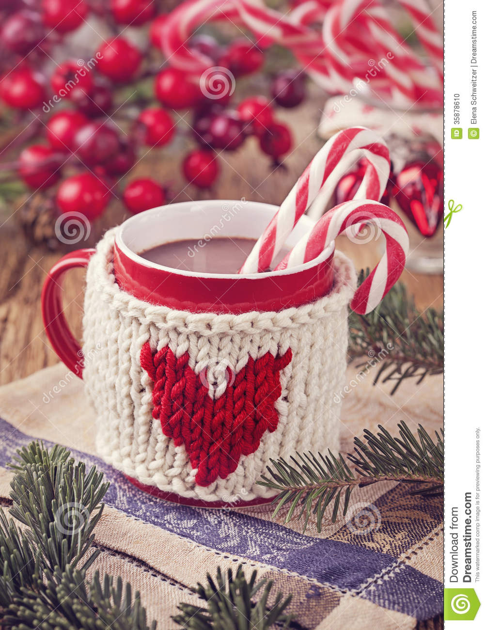 Hot Chocolate With Candy Cane Stock Photo Image Of