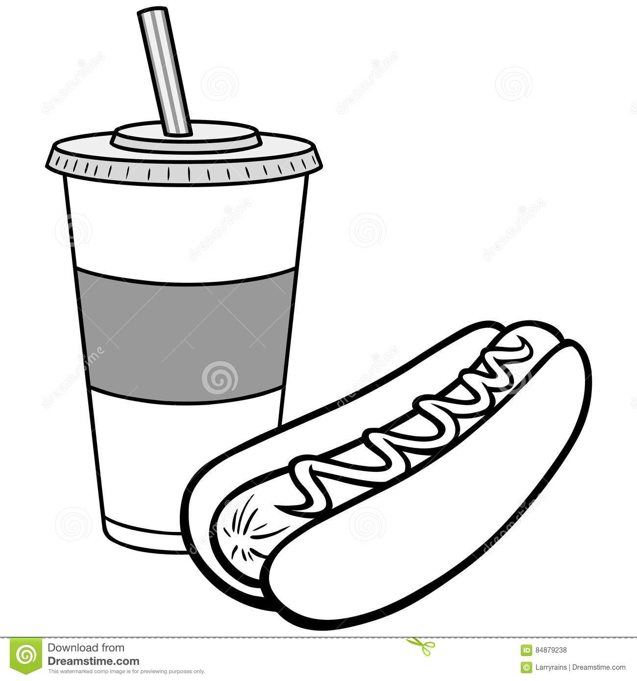 Hot Dog And Drink Illustration Stock Vector