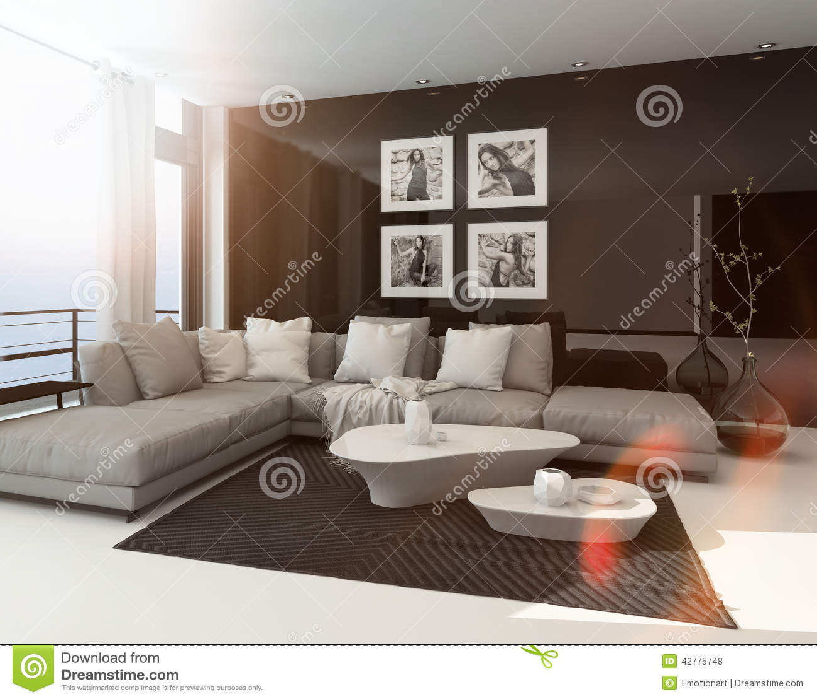 Hot Sunny Modern Sitting Room Interior Stock Illustration