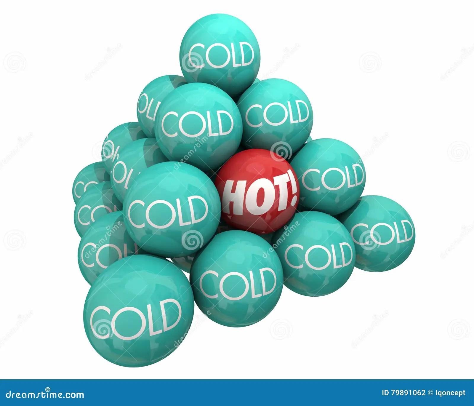 Hot Vs Cold Balls Pyramid Heat Cool Temperature Stock