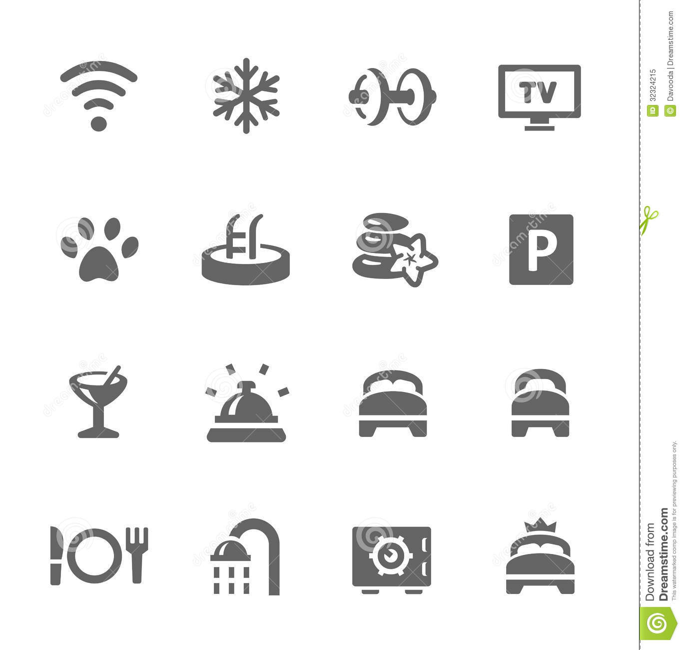 Hotel Features Icon Set Royalty Free Stock Photo