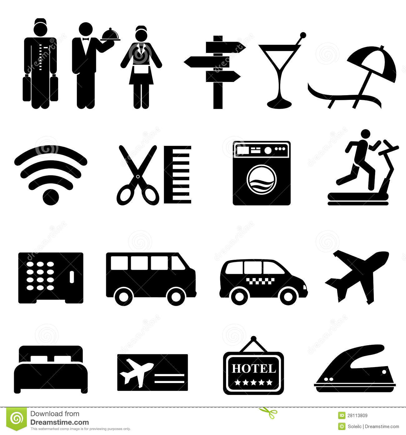 Hotel Icon Set Stock Vector Illustration Of Hairdresser
