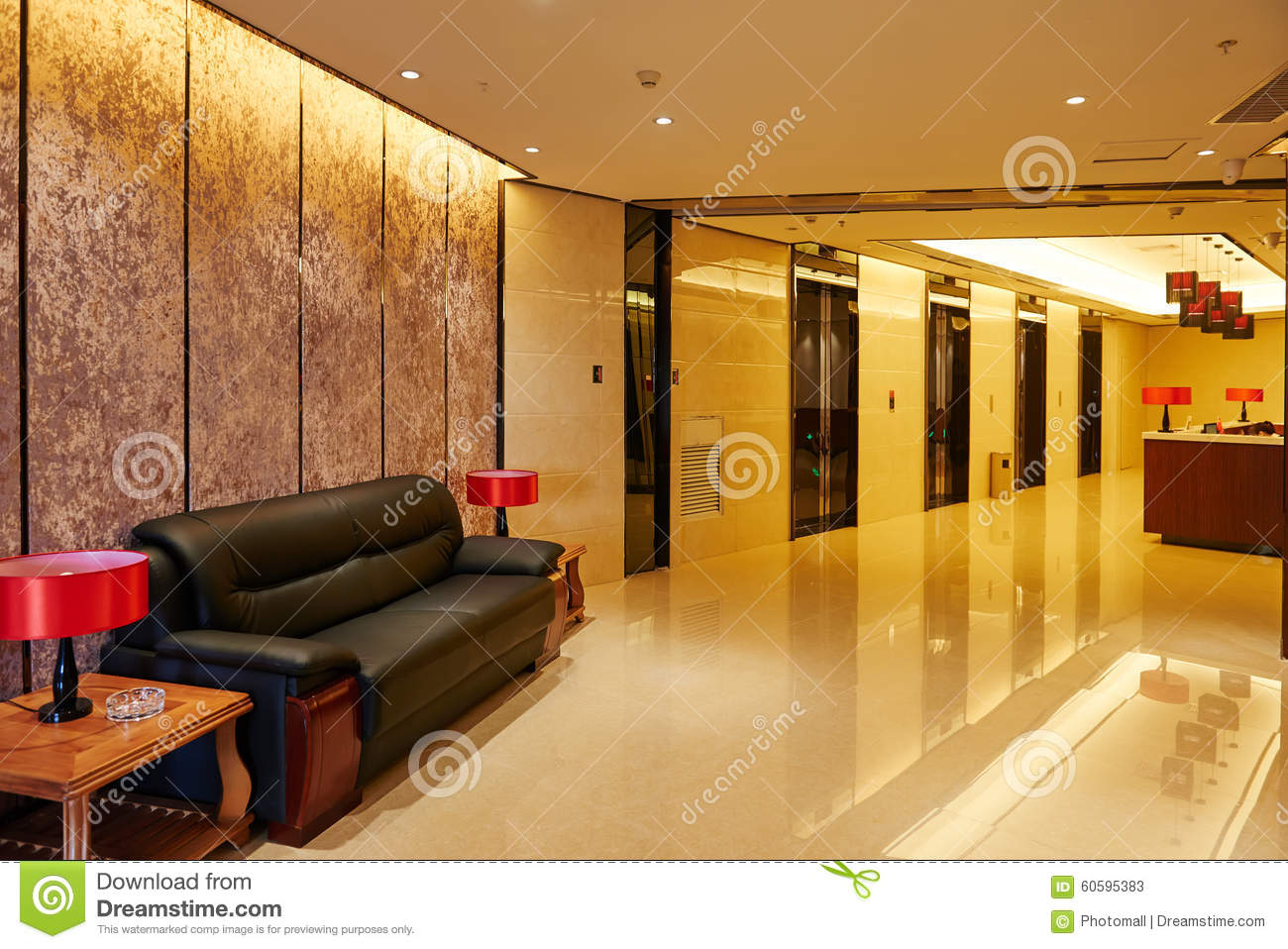 Hotel Lobby And Elevator Doors Furniture Stock Image
