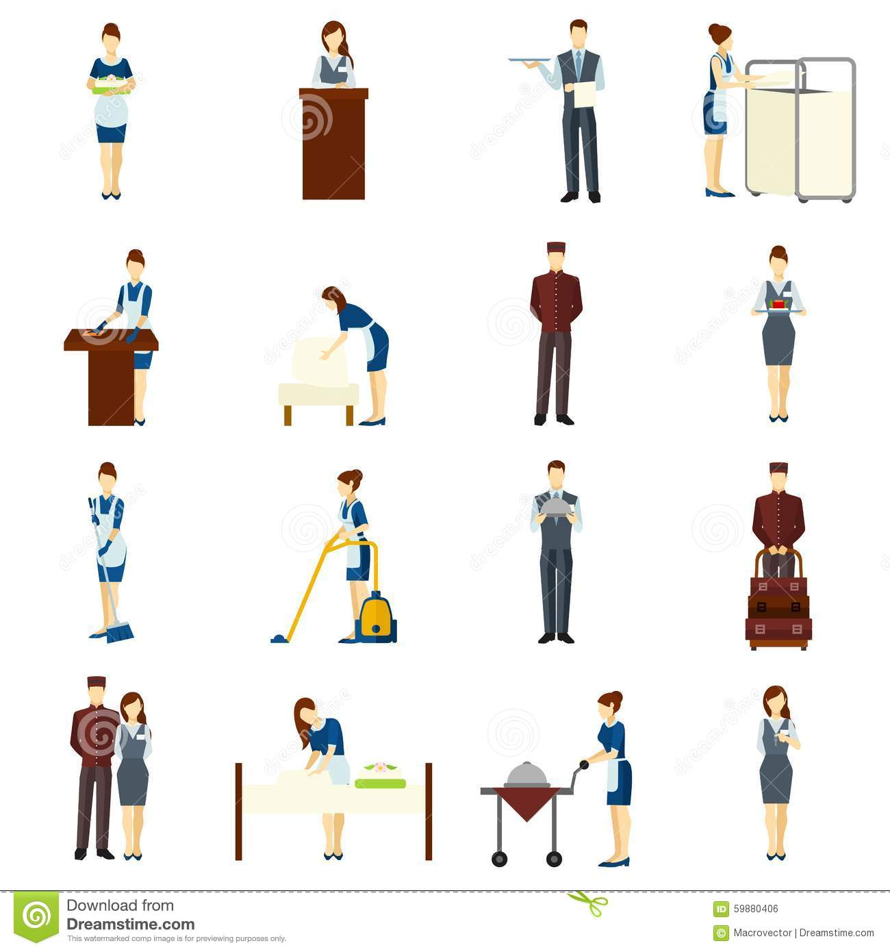 Hotel Staff Set Stock Vector Illustration Of Adult