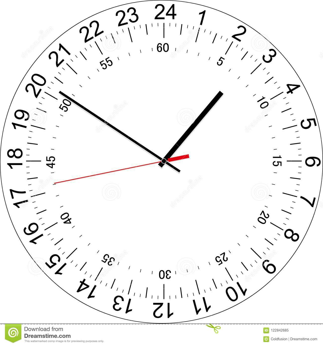 24 Hours Clock Dial With The Seconds Dial Vector