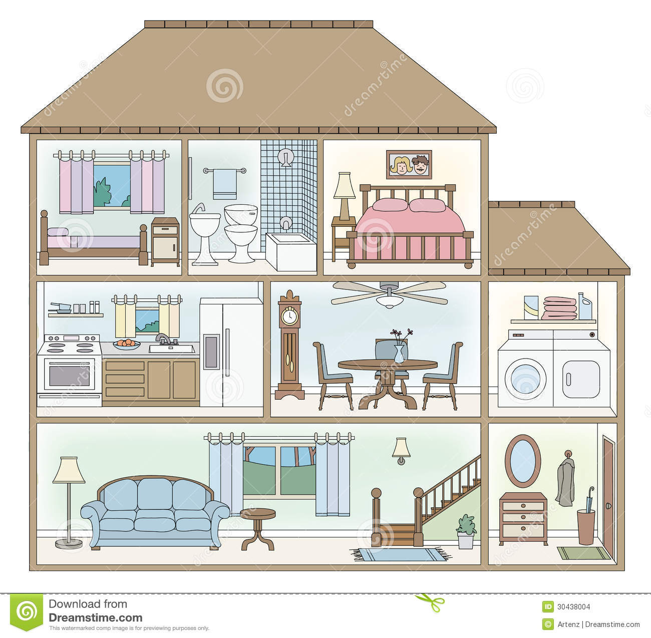 House Cross Section Stock Images