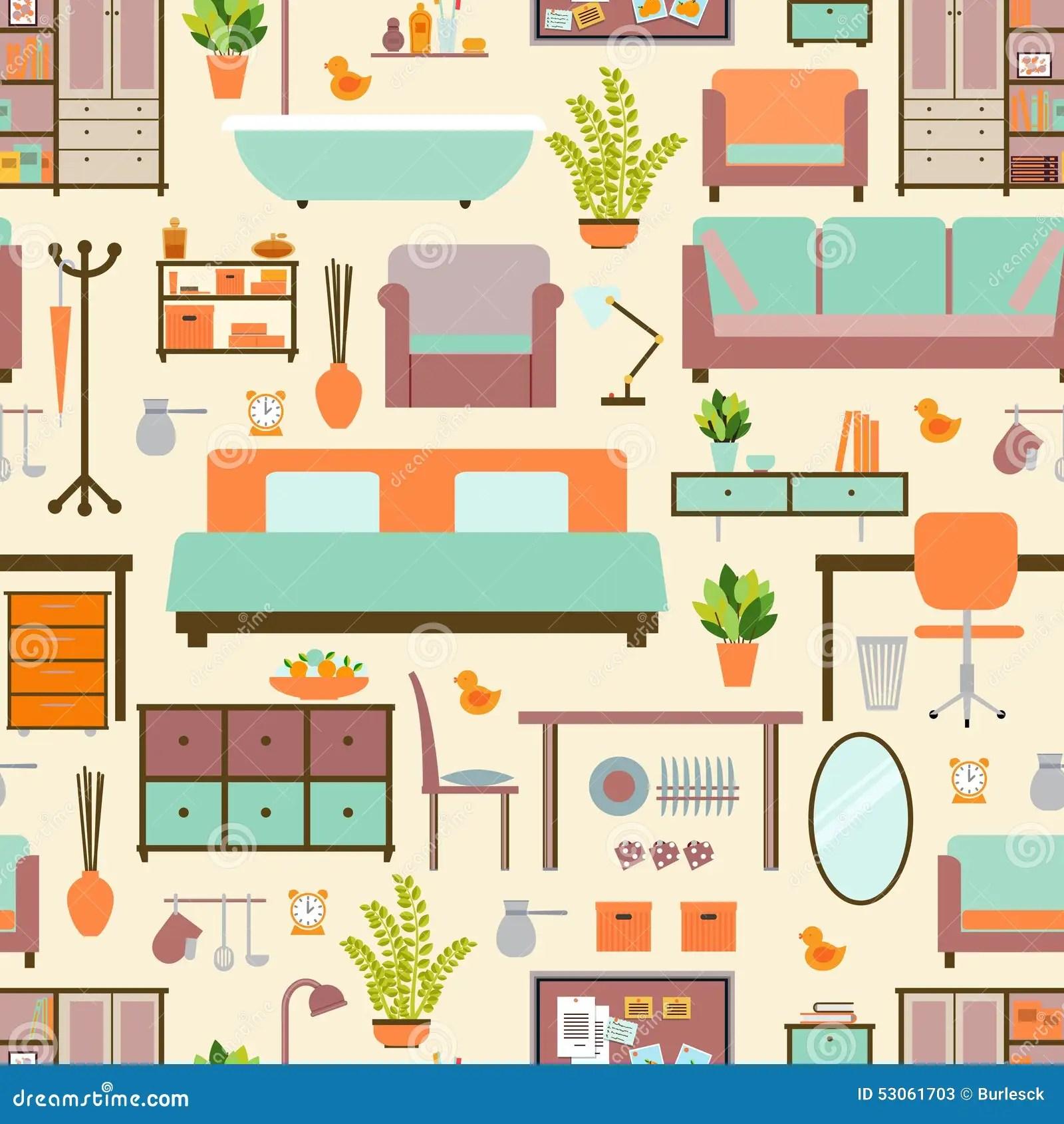 House Furniture Pattern Stock Vector Illustration Of