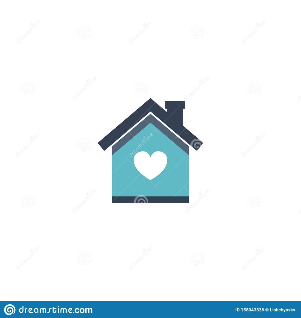 Download House Love Icon. Vector Symbol On White Stock Illustration ...