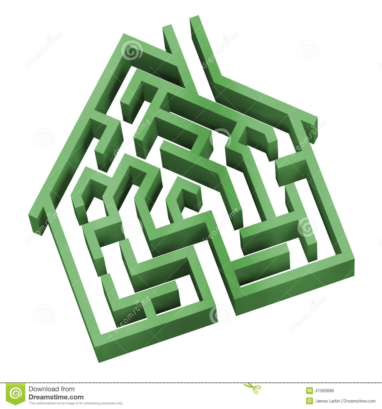 Maze House As A Symbol Of Home Hunting Puzzle Vector
