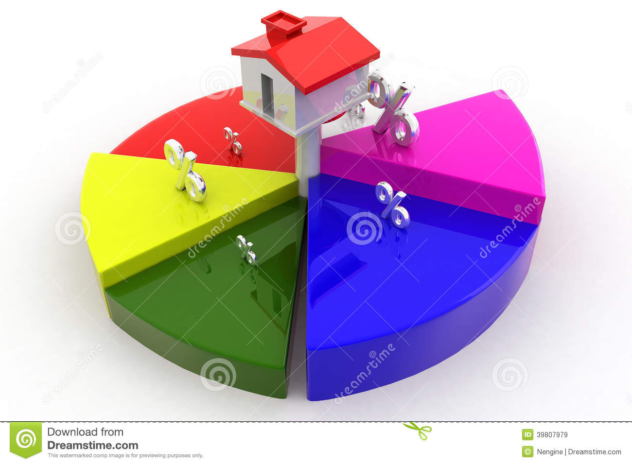 House Percentage And Circle Graph Stock Illustration