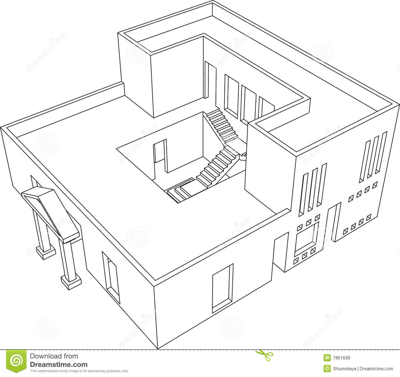 House Perspective 1 Stock Vector Illustration Of Model